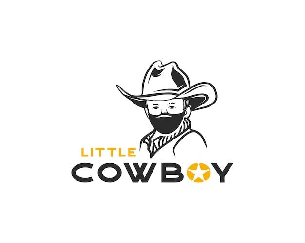 Piccolo cowboy con cappello e maschera modello di progettazione del logo. illustrazione vettoriale