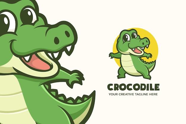 Modello di logo del personaggio mascotte animale piccolo coccodrillo