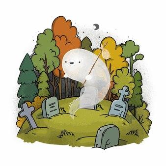 Piccolo fantasma carino al cimitero di halloween