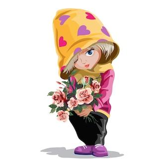 Piccola ragazza carina che tiene un mazzo di fiori