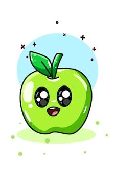 Un piccolo disegno sveglio della mano della mela verde Vettore Premium