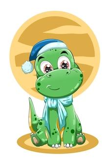 Un piccolo dinosauro verde carino che indossa un cappello blu. illustrazione
