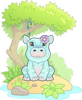 Piccolo ippopotamo carino