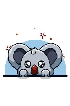 Un piccolo disegno sveglio della mano dell'illustrazione del koala