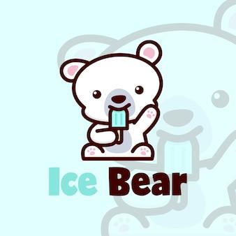 Piccolo orso polare sveglio che mangia il vettore del logo del gelato