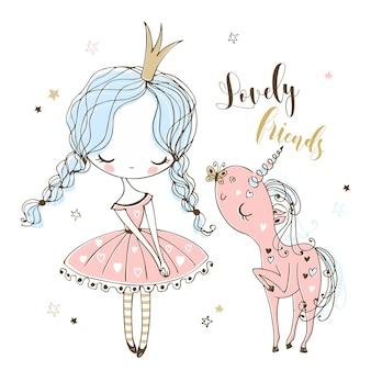 La piccola principessa carina pettina la criniera del suo unicorno. Vettore Premium