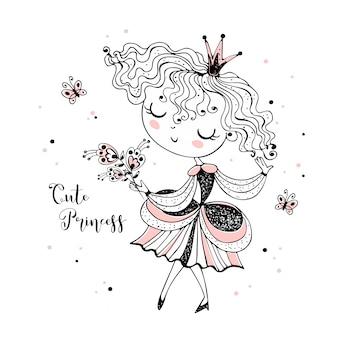 Piccola principessa carina con un mazzo di fiori.
