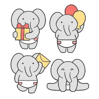 Accumulazione disegnata a mano del fumetto del piccolo elefante Vettore Premium