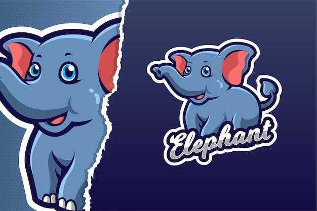 Modello di logo del gioco della mascotte del piccolo elefante