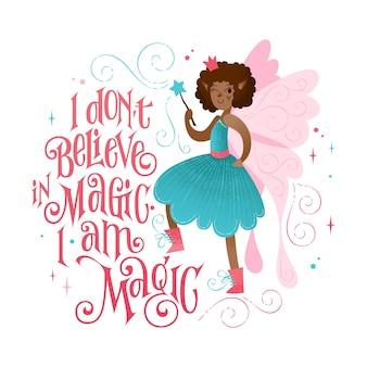Piccola fata frase bella citazione di lettere a tema magico e illustrazione