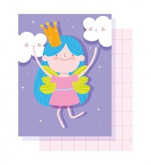 Piccola fata principessa con corona e nuvole fumetto di racconto magico