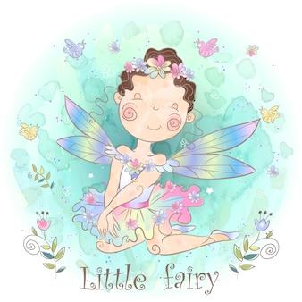 Una piccola fata da favola. elfo della ragazza della foresta.