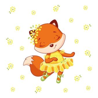 Piccola ballerina di volpe che balla con i fiori