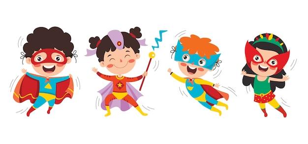 Piccoli supereroi divertenti del fumetto in posa