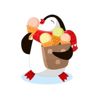 Il piccolo pinguino divertente mangia il gelato e tiene un sacchetto di gelato. vettore, illustrazione piatta, cartone animato