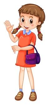 Bambina che porta la borsa viola