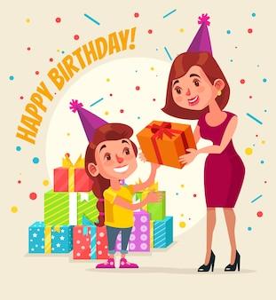 Compleanno del personaggio della bambina. il carattere della mamma dà la confezione regalo. buon compleanno. illustrazione di cartone animato piatto
