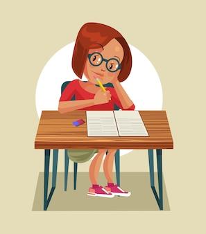 Carattere della bambina che fa i compiti. cartone animato