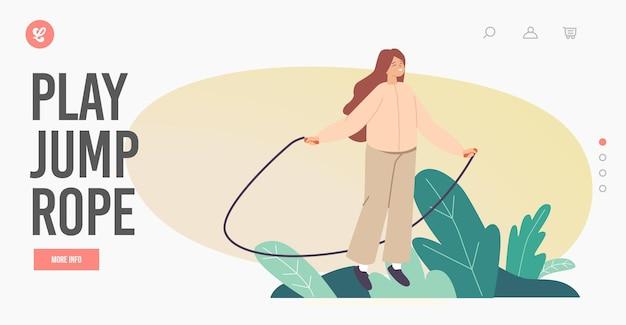 Carattere della bambina che si esercita con il modello di pagina di destinazione della corda per saltare. bambino che gioca per strada, salta e gioisci durante l'ora legale. attività all'aperto per bambini e tempo libero. fumetto illustrazione vettoriale