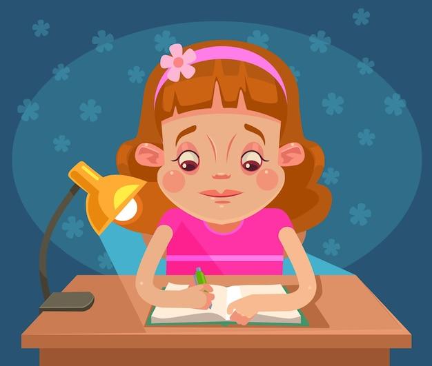 Carattere del bambino della bambina che fa i compiti. cartone animato