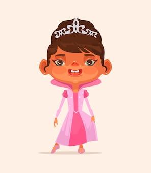 Carattere del bambino della bambina in vestito della principessa.