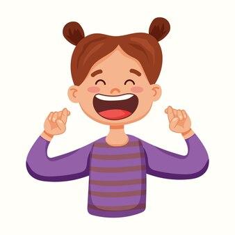 La bambina ha incrociato le dita la ragazza sta sognando qualcosa. illustrazione vettoriale in stile piatto