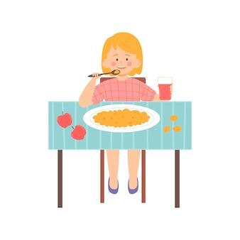 Bambina che mangia porridge per colazione illustrazione vettoriale personaggio in stile piatto