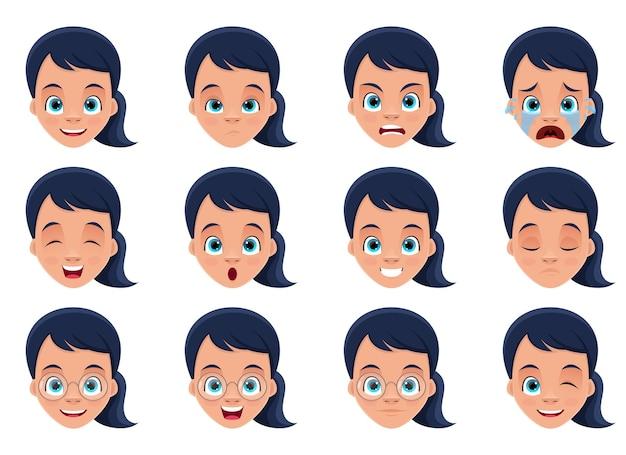 Illustrazione di progettazione di espressioni del viso della bambina isolata