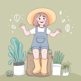 Bambina in giardino. personaggio dei cartoni animati della ragazza del contadino.