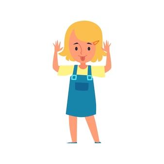 La bambina fa smorfie e attacca fuori la sua lingua il personaggio dei cartoni animati dell'illustrazione di vettore di cattivo comportamento dei bambini isolata. problemi e maniere dei bambini.