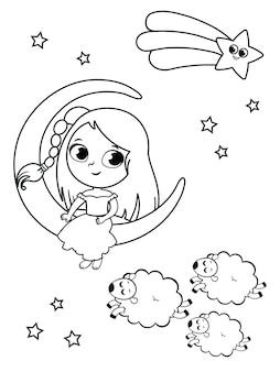 Illustrazione della bambina nel concetto di notte illustrazione in bianco e nero per l'attività di pittura