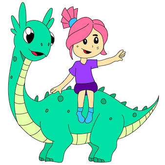 La bambina sta cavalcando un dinosauro. personaggio dei cartoni animati illustrazione vettoriale