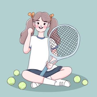 La bambina ama lo sport del tennis. personaggio del tennista.