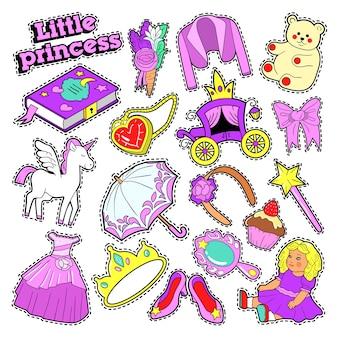 Distintivi, toppe, adesivi della principessa della bambina con giocattoli, unicorno e vestiti. scarabocchio