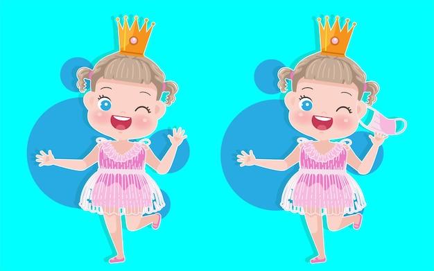 Bambina in abito rosa costume da principessa e corona scintillante. simpatico cartone animato bambina maschera covid-19 prevenire il concetto.