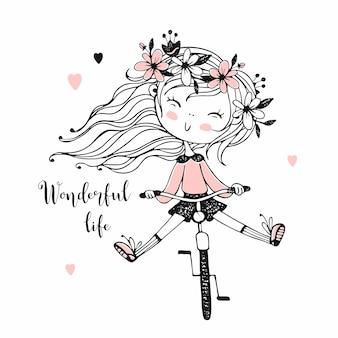 Una bambina va in bicicletta. illustrazione.