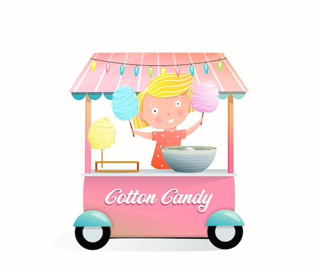 Bambina che vende zucchero filato