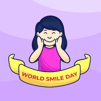 Bambina sorridente con il dito sul viso