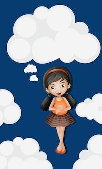 Bambina in piedi su soffici nuvole di sfondo