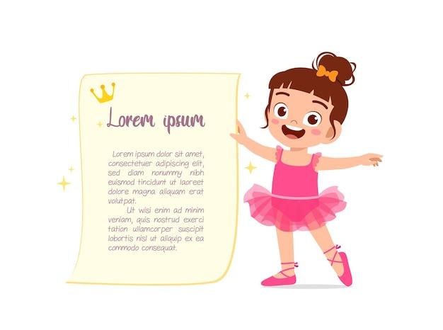 La bambina indossa un bellissimo costume da ballerina e balla