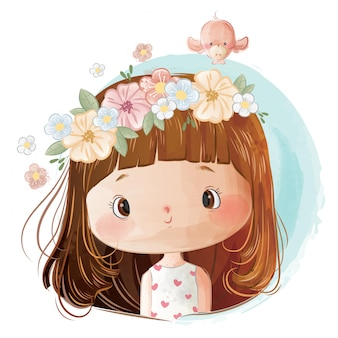Bambina che indossa la corona di fiori sulla sua testa