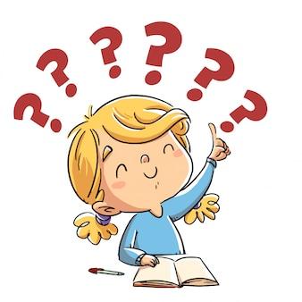 Bambina che conosce una risposta   Vettore Premium