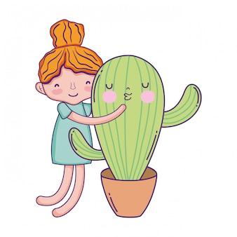 Bambina con carattere di cactus kawaii Vettore Premium