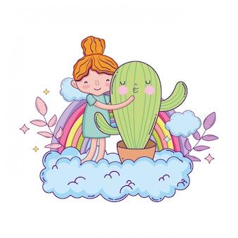 Bambina con carattere di cactus kawaii