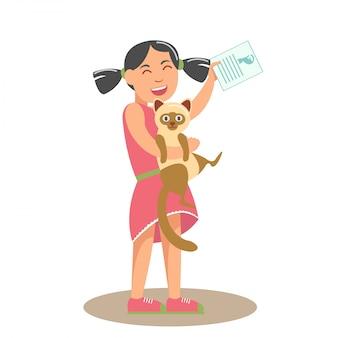 Bambina con cat flat vector illustration Vettore Premium