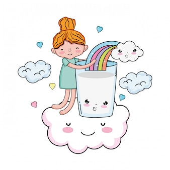 Bambina con latte e personaggio kawaii arcobaleno