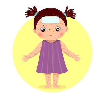 Bambina con eruzioni cutanee su tutto il corpo dal morbillo