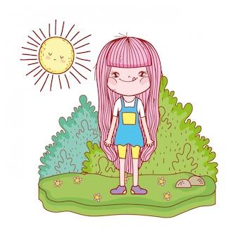 Bambina con i caratteri del sole kawaii