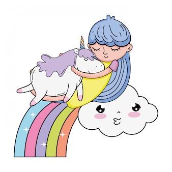 Bambina con unicorno e arcobaleno kawaii