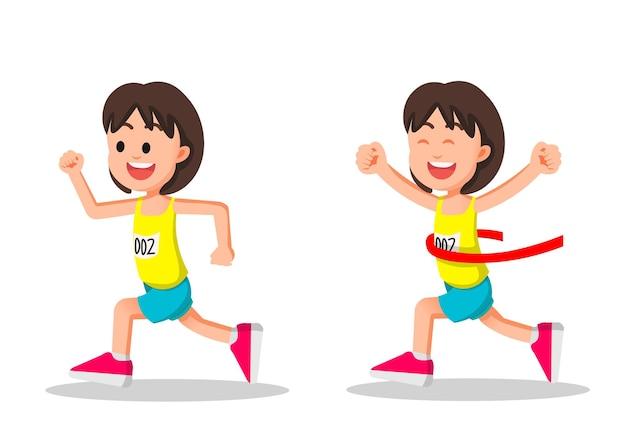 La bambina ha vinto una gara di maratona
